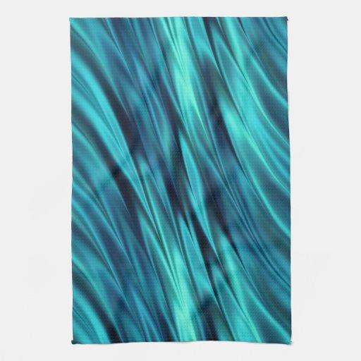 Aquamarine silky waves hand towel