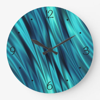 Aquamarine silky waves wallclocks