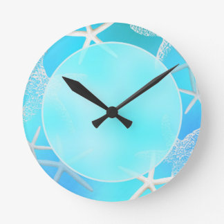 Aquamarine Starfish on Blue Wall Clock