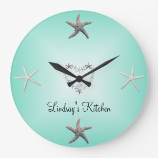 Aquamarine Starfish Wall Clock to Personalize