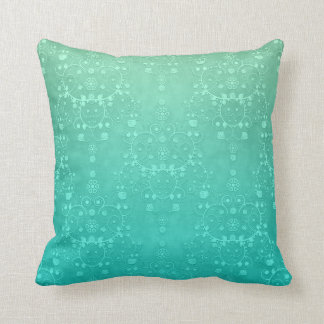 Aquamarine Teal Mint Green Fancy Damask Pattern Throw Pillow