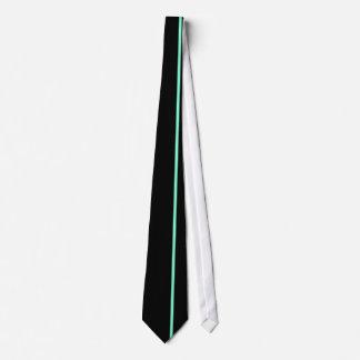 Aquamarine Thin Vertical Line Black Offset Right Tie