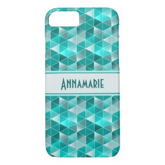 Aquamarine Triangles Pattern Customisable iPhone 8/7 Case