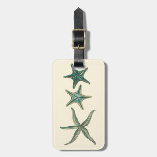 Aquamarine Triple Starfish Luggage Tag