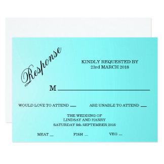 Aquamarine Turquoise Wedding Response Card 11 Cm X 16 Cm Invitation Card