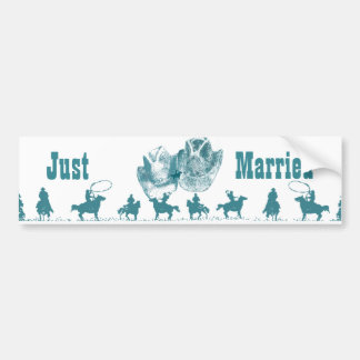 Aquamarine Western Vintage Wedding Bumper Stickers