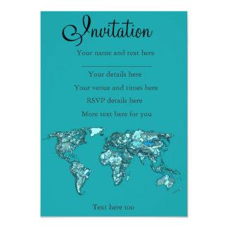 aquamarine world map 13 cm x 18 cm invitation card
