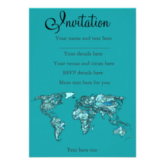 aquamarine world map personalized invitations