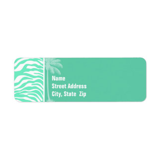 Aquamarine Zebra Animal Print; Summer Palm Return Address Label