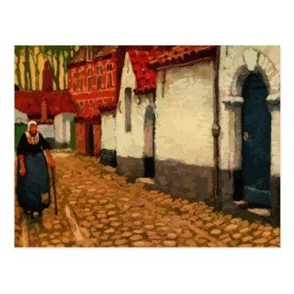 Aquarelle a quiet alley in Bruges Postcard