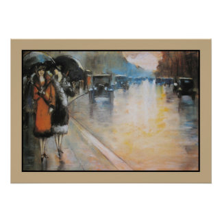 Aquarelle Berlin street in the rain Poster