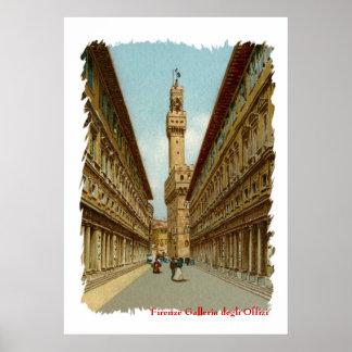 Aquarelle Florence Uffizi Gallery Poster