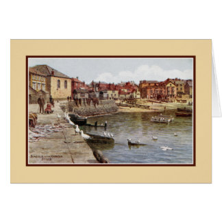 Aquarelle St Ives Cornwall Seagulls in the harbour Greeting Card