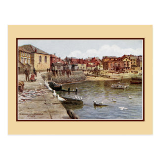 Aquarelle St Ives Cornwall Seagulls in the harbour Postcard