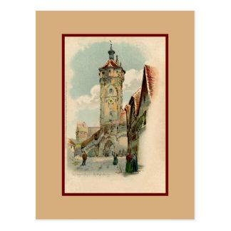 Aquarelle watercolor Rothenburg ob der Tauber Postcard
