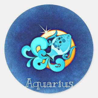 Aquarius, Acquario Round Sticker
