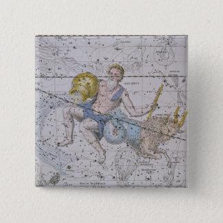 Aquarius and Capricorn, from 'A Celestial Atlas', 15 Cm Square Badge