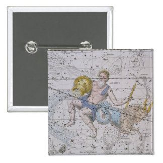 Aquarius and Capricorn, from 'A Celestial Atlas', 15 Cm Square Badge