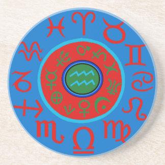Aquarius Astrology Zodiac Coaster