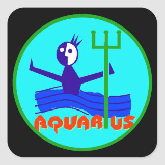 Aquarius cartoon the water bearer square sticker