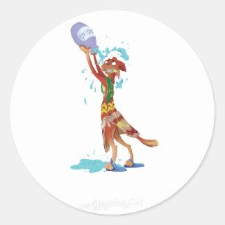 Aquarius Cat Round Sticker