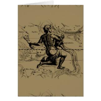Aquarius Constellation Map Hevelius 1690 on Taupe Greeting Card
