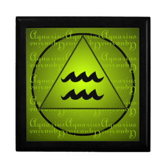 Aquarius Curly Script Triangle Circle Green Jewelry Boxes