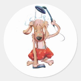 Aquarius Dog Round Sticker