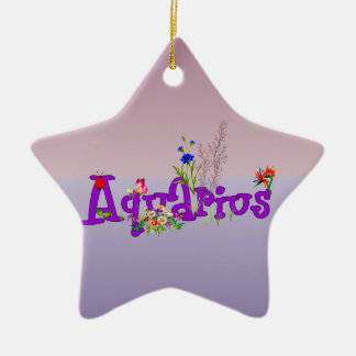 Aquarius Flowers Christmas Ornament