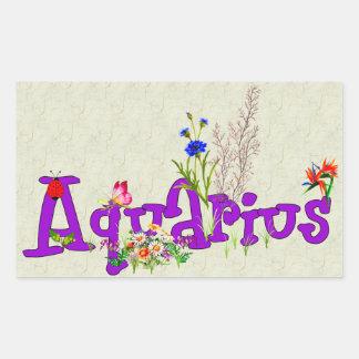 Aquarius Flowers Rectangular Sticker