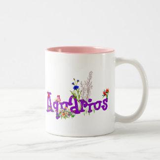 Aquarius Flowers Two-Tone Coffee Mug