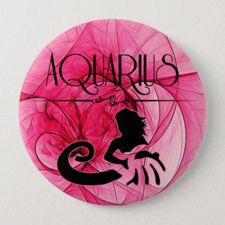 Aquarius for the Lady Zodiac in Pink 10 Cm Round Badge
