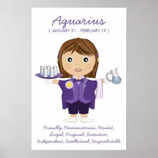 Aquarius - Girl Horoscope Poster