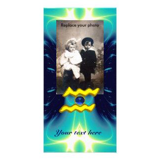 AQUARIUS /GOLD ZODIAC BIRTHDAY JEWEL CUSTOMIZED PHOTO CARD