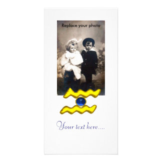 AQUARIUS /GOLD ZODIAC BIRTHDAY JEWEL PHOTO CARD