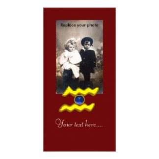 AQUARIUS /GOLD ZODIAC BIRTHDAY JEWEL PHOTO GREETING CARD