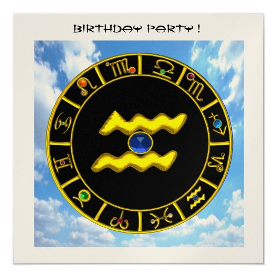 AQUARIUS.GOLD ZODIAC BIRTHDAY SIGN,ASTROLOGY CHART CARD