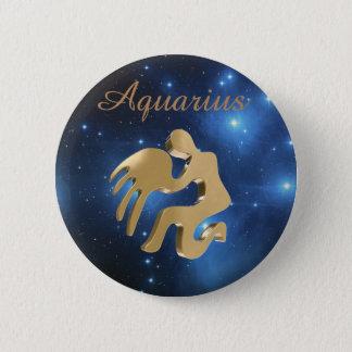 Aquarius golden sign 6 cm round badge