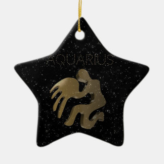 Aquarius golden sign christmas ornament