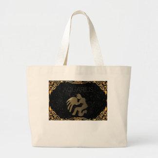 Aquarius golden sign large tote bag
