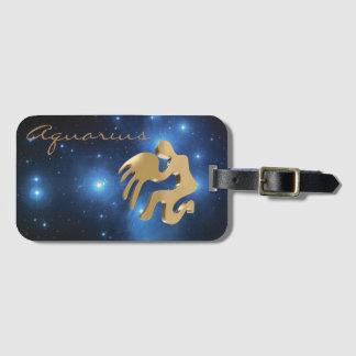 Aquarius golden sign luggage tag