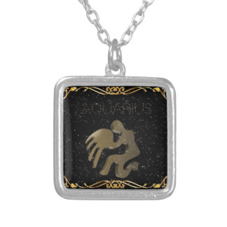 Aquarius golden sign silver plated necklace