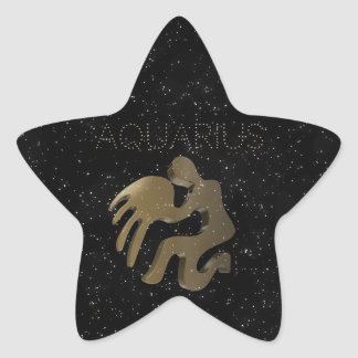 Aquarius golden sign star sticker