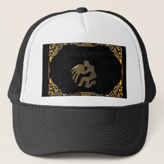 Aquarius golden sign trucker hat