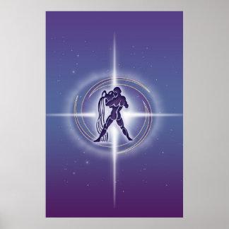 Aquarius Horoscope Lavender HLRX Poster