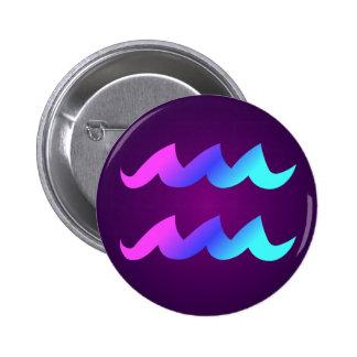 Aquarius Horoscope Sign Pink Blue Aqua Purple 6 Cm Round Badge