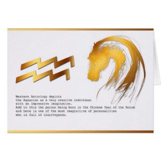 Aquarius Horse Chinese Western Astrology Birthday Card