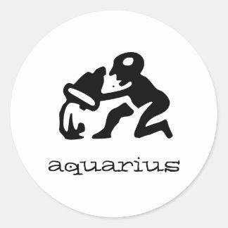 Aquarius in black round sticker