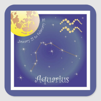 Aquarius January 21 tons of February of 18 Square Sticker