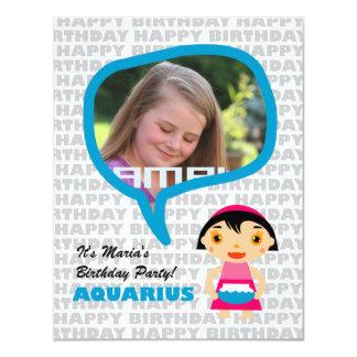 Aquarius Kids Party Invitation with photo